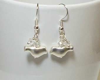 Silver Bird With Shimmer Crystal Dangle Earring, Silver Bird Earring, Bird Earring, Crystal Earring, Dangle Earring