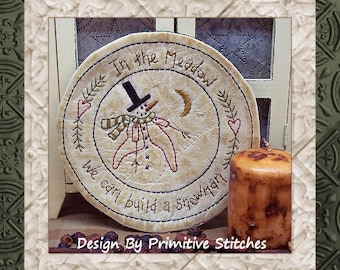 In The Meadow Candle Mat by Primitive Stitches-Primitive Stitchery E-Pattern-Instant Download