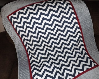 Baby blanket gray  Maroon navy chevron minky dot