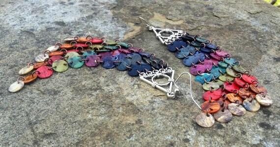 Multicolor Mussel Shell Duster Earrings