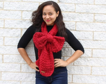 Womens winter scarf, Bow scarf, Knit winter scarf - Chunky winter scarf, Red scarf, Thick knit scarf, Gift for her