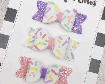 Sprinkles Bow, Sprinkle Print Bow, Cupcake Themed Bow, Spring Bow, Sprinkles Fabric