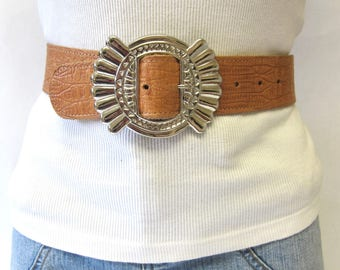 Brown Leather Belt Mock Croc SZ S/M Tan