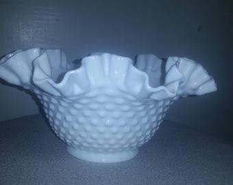 Fenton Hobail Milk Glass Ruffled Edge bowl
