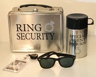 Deluxe Ring Security Set - Box, Thermos, Sunglasses & Coloring Book with Crayons - Ring Bearer Alternative