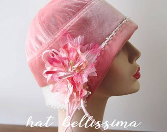 SALE pink 1920's  Hat Vintage Style hat winter Hats hatbellissima ladies hats millinery hats cloche Hats Hats with a Brooch