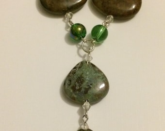 Snakeskin Jasper Teardrop Y Necklace