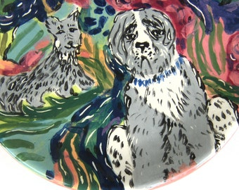 plate, ceramic plate animals dogs  decorative plates, grey green maroon, funky whimsical art, plate serving dessert, handpainted