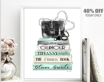Fashion Books Books Stack, Fashion Wall Art Print, Fashion Wall Art Decor Fashion Poster Diva Den Art Fashion Wall Art Decor Fashionista Art