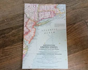 National Geographic Map Of The Northeastern United States-April 1959