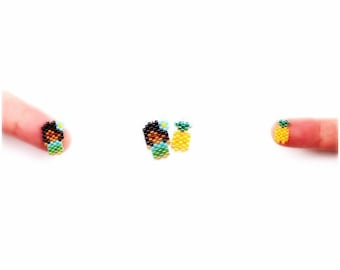 Small Hula Girl & Mini Pineapple Brick Stitch Bead PATTERNS   DIGITAL DOWNLOAD