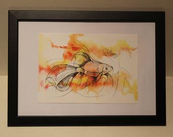 A5 original watercolour painting. Goldfish watercolour painting. Fish art. marine art. sealife art. watercolour and ink. goldfish art.