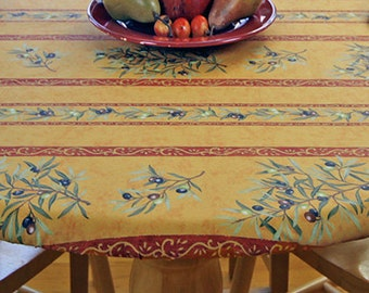 """Large 51""""- 61"""" Fitted  Round Coated Tablecloth - Choose the Size - Umbrella Hole Available - French Provencal Waterproof Fabric -"""