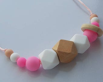 Pink and white hexagonal silicone and wood teething necklace