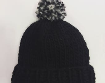 Chunky Knitted Beanie Hat + Pom Pom (100% Wool) - Black/Mix Contrast