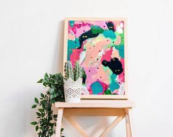 Abstract painting on paper Abstract art painting Modern art Original painting Abstract wall art Wall hanging Gift for mom from daughter