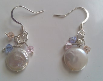 Freshwater Pearl Coin and Swarovski Crystal Earrings, Spring earrings, Wedding earrings