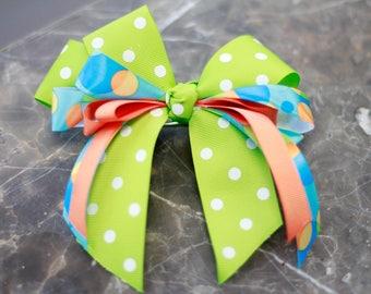 Lime green, blue, peach, polka dot hair ribbon with clip