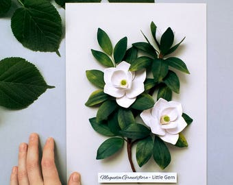 Magnolia Botanical Illustration - Magnolia Art - Nature Wall Art - Paper Quilling Flowers - Plant Wall Decor - Nature Lover Gift