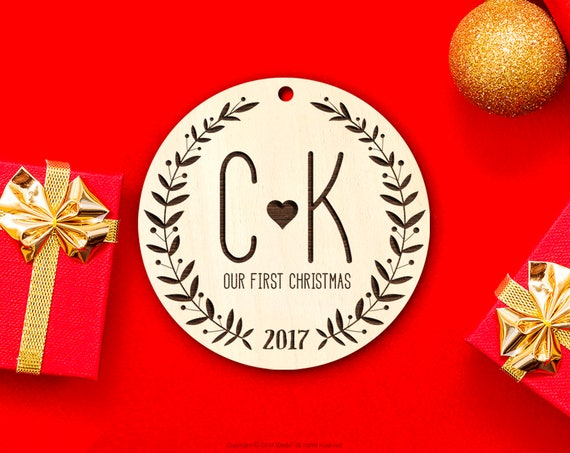 Rustic wood Our First Christmas Ornament Christmas Ornament Personalized Ornament Engaged Christmas Ornament housewarming gift for couple 24