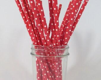 25 Paper Drinking Straws   Party Supplies   Wedding Supplies   Anniversary Supplies  ~ Red & White ~ Polka Dot