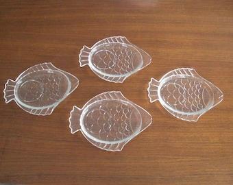 4 Vintage Fish Plates