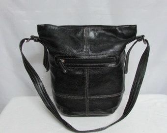 Vintage Tignanello Black Leather Satchel Hobo Tote Shoulder Purse Handbag With Contrast Stitching