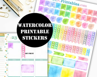 Watercolor Printable Planner Stickers // Erin Condren Printable / Plum Paper Planner / Watercolor Printable Digital Download 00029