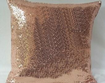 rose gold sequin pillow, decorative  Rose gold  metallic pillow, blush pillow,  throw pillow cover, Rose gold  wedding decor,