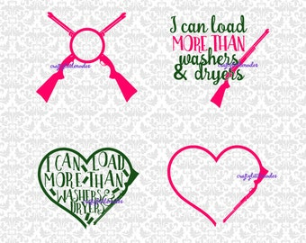 I Can Load More Than Washers & Dryers Shotgun Gun Monogram SVG STUDIO Ai EPS Vector Instant Download Commercial Use Cricut Silhouette