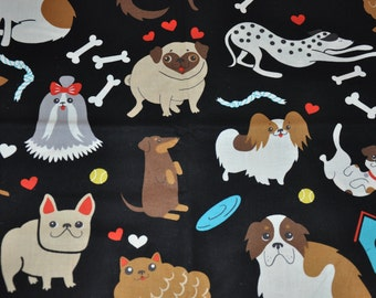 One Yard of Doggone Dog pug, St. Bernard, Dalmation, Alexander Henry 100% Cotton Quilt Fabric
