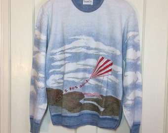 Vintage 1970's Nautical beach Kite mountain country sky clouds Picture Scene novelty Sweater size Medium heather blue white red green
