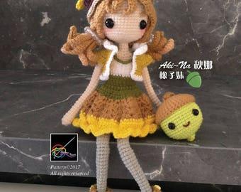 Crochet Doll Pattern - Aki~Na 秋娜- The Acorn Girl