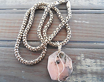 Pink Opal Pendant - Sterling Necklace - October Birthday - One of a Kind - Opal Jewelry - Gift for Her - Girlfriend Gift - Sterling Silver