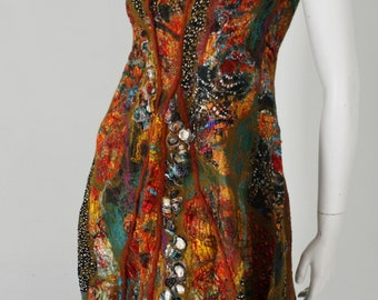 Nuno felt dress, one of a kind artwear, Klimt inspired