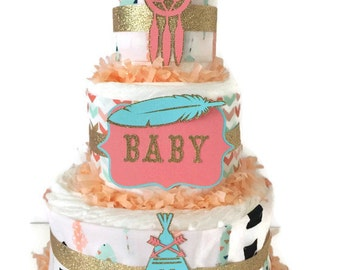 Tribal Baby Shower Diaper Cake in Coral, Mint and Gold, Teepee Theme Baby Shower, Tribal Centerpiece