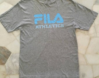 Vintage FILA Athletic Spellout Tshirt Short Sleeve Gray/Grey Mens Big Logo