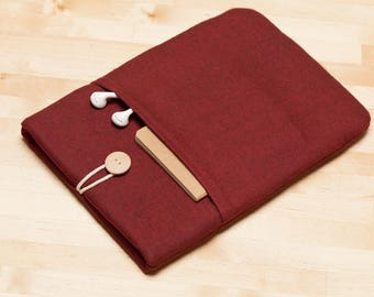 iPad Pro 12.9 cover, iPad Pro 12.9 case, 12.9 inch iPad Pro case,  iPad Pro cover - Flannel maroon