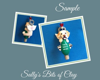 Yellow Labrador Retriever Dog (mouth open) Angel Christmas Light Bulb Ornament Sally's Bits of Clay PERSONALIZED FREE with dog's name