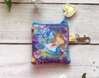 Alice in Wonderland mini zipper pouch, coin pouch, ear bud pouch, eco friendly vegan leather