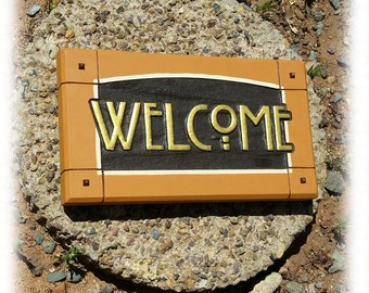Craftsman Mission style Welcome sign