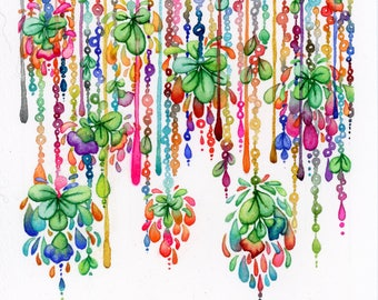 Small Flower Curtain Original Watercolor Painting