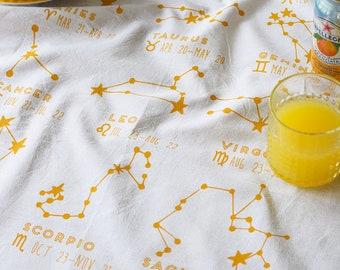 Tea Towel - Tea Towel Flour Sack - Organic Cotton - Kitchen Towels - Dish Towels - Screen Printed Tea Towels - Horoscope - Constellation