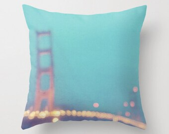 San Francisco pillow cover, Golden Gate Bridge pillow, California home decor, peppermint blue, girls nursery decor, linens, romantic home