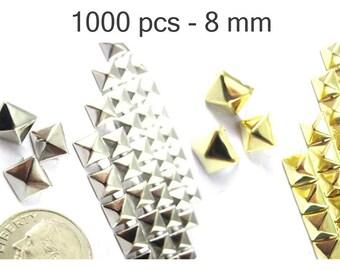 1000 pcs - 5/16 po (8 mm). Nailheads taches Pyramid Studs - 2 broches (2 cuisses) Square Stud Spike - pour le bricolage sac, chaussures, sur la mode des vêtements