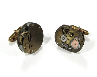 Mens Cufflinks Steampunk Jewelry Cufflinks Nihilist Post-Apocalyptic Vintage Watches Cuff Links Holiday Gift For Men - Jewelry by edmdesigns