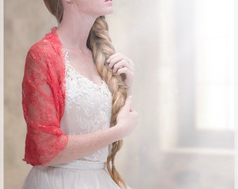 Wedding Coral Lace Shrug With 4 Wearing Options- Shawl, Shrug, Twist And Scarf. Bridal Cover Up Bridesmaids Shrugs, Wedding Party Set DL130)