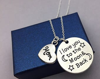 Mom Necklace, I love you to the moon and back necklace,Love Moon Jewelry, Silver Mom Jewelry Gift I Love You Mom Necklace Mothers Day Gift
