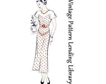 1930s Ladies Day Dress With Scallop Detailing - Reproduction Sewing Pattern #T2992