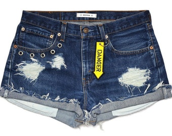 Custom Levi's shorts vintage Danger keychain High waisted cutoffs distressed destroyed regular cut off blue chain Jeans rock W33 XL